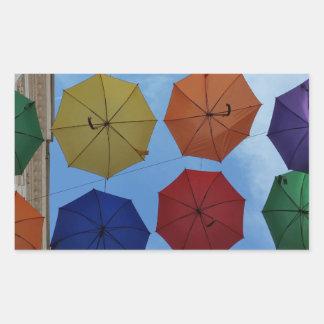 Adesivo Retangular Guarda-chuvas coloridos
