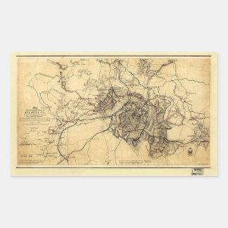 Adesivo Retangular Guerra civil Atlanta GA. Mapa (19 de julho - 26 de