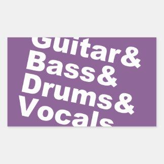 Adesivo Retangular Guitar&Bass&Drums&Vocals (branco)
