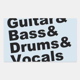 Adesivo Retangular Guitar&Bass&Drums&Vocals (preto)