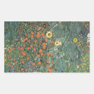 Adesivo Retangular Gustavo Klimt - flores dos girassóis do jardim do