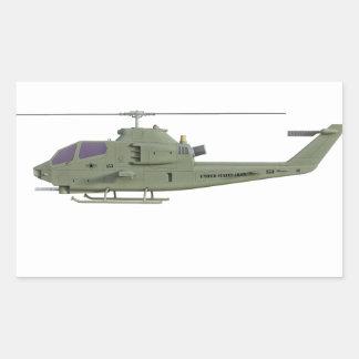 Adesivo Retangular Helicóptero de Apache no perfil da vista lateral