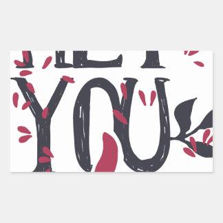 Adesivo Retangular Hey você eu te amo