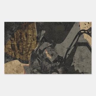 Adesivo Retangular Homem com máscara protetora na placa de metal