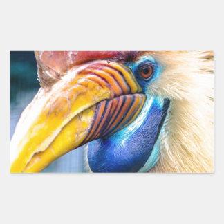 Adesivo Retangular Hornbill vermelho e amarelo