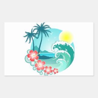 Adesivo Retangular Ilha havaiana 3