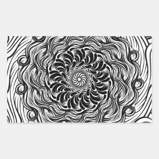 Adesivo Retangular Ilusão óptica do Doodle ornamentado do zen preto e