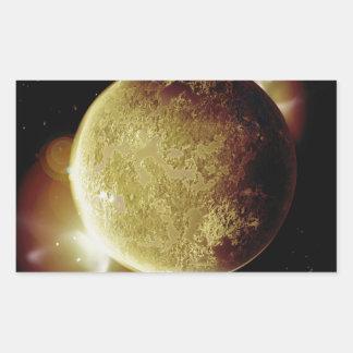 Adesivo Retangular ilustração amarela do planeta 3d no universo