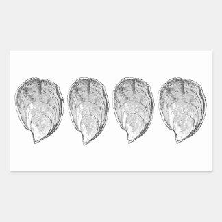 Adesivo Retangular Ilustração das ostras da Olympia