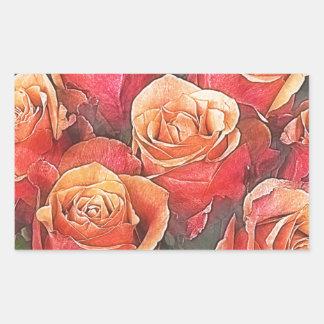 Adesivo Retangular Ilustração das rosas vermelhas