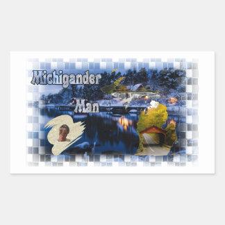 Adesivo Retangular Inverno do homem de Michigander!