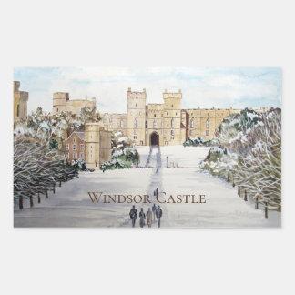 Adesivo Retangular Inverno na pintura de paisagem do castelo de