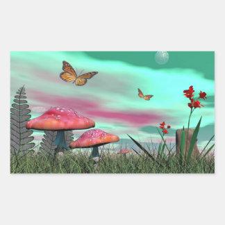 Adesivo Retangular Jardim da fantasia - 3D rendem