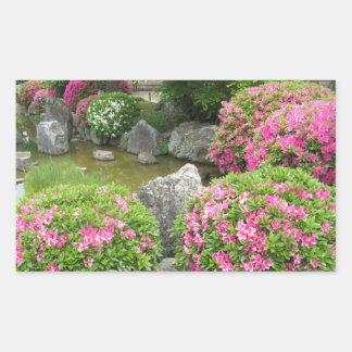 Adesivo Retangular Jardim de pedra de Japão com as flores cor-de-rosa