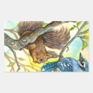 Adesivo Retangular Jay azul e esquilo