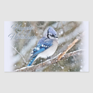 Adesivo Retangular Jay azul no feriado do Natal da neve