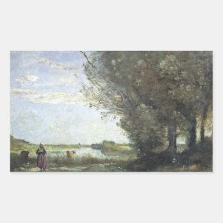 Adesivo Retangular Jean-Baptiste-Camilo Corot - opinião do rio