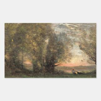 Adesivo Retangular Jean-Baptiste-Camilo Corot - pescador