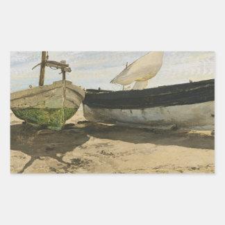 Adesivo Retangular Joaquin Sorolla - barcos de pesca na praia