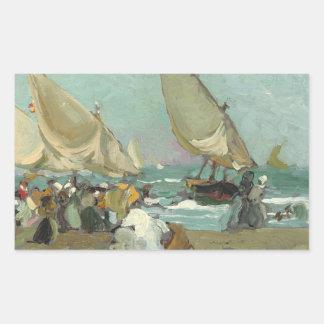 Adesivo Retangular Joaquin Sorolla - barcos na praia de Valência