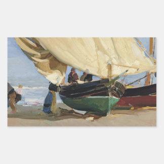 Adesivo Retangular Joaquin Sorolla - Pescadores. Varadas de Barcas