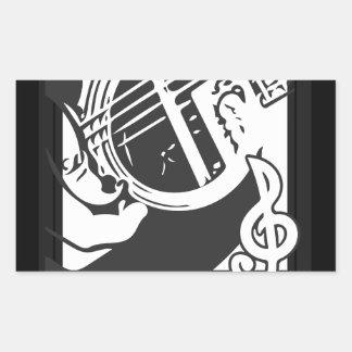Adesivo Retangular Jogo da guitarra do melómano preto e branco