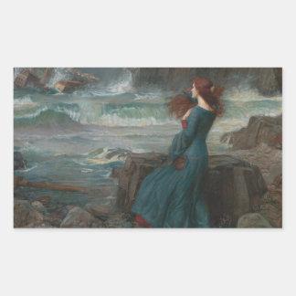 Adesivo Retangular John William Waterhouse - Miranda - a tempestade