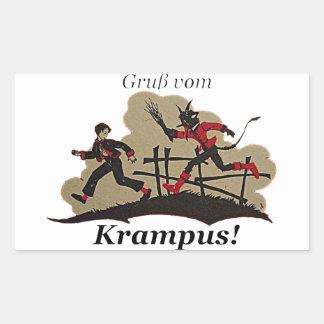 Adesivo Retangular Krampus persegue o miúdo