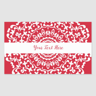 Adesivo Retangular Laço elegante elegante branco vermelho