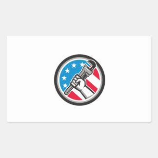 Adesivo Retangular Lado Circ angular da bandeira dos EUA da chave de