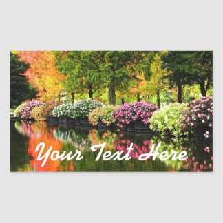 Adesivo Retangular Lagoa colorida das árvores do outono das flores do