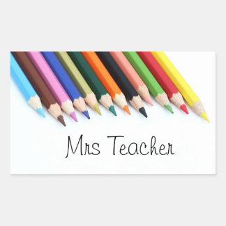 Adesivo Retangular Lápis da cor da Sra. Professor