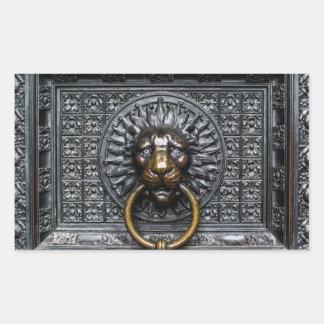 Adesivo Retangular Leão de Doorknocker - preto/ouro