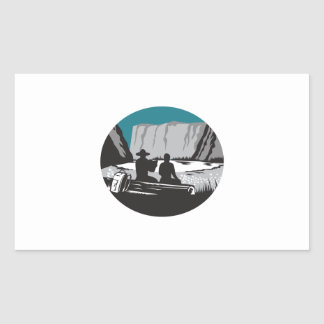 Adesivo Retangular Leitura do campista que senta-se no Woodcut do