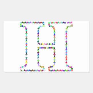 Adesivo Retangular Letra H da estrela do arco-íris