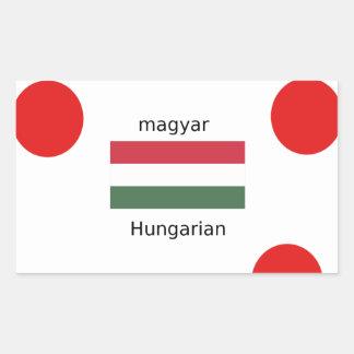 Adesivo Retangular Língua de Hungria e design da bandeira