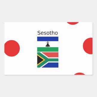 Adesivo Retangular Língua de Sesotho e bandeiras de Lesotho/África do