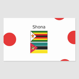 Adesivo Retangular Língua de Shona e bandeiras de Zimbabwe e de