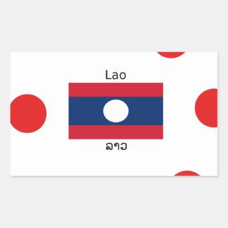 Adesivo Retangular Língua (Laotian) do Lao e bandeira de Laos