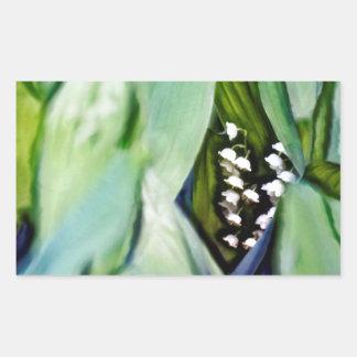 Adesivo Retangular Lírio das flores do vale escondidas nas folhas