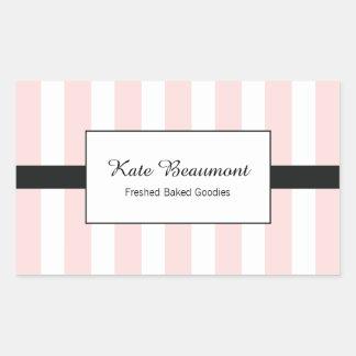 Adesivo Retangular Listras cor-de-rosa e brancas elegantes bonitos