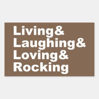 Adesivo Retangular Living&Laughing&Loving&ROCKING (branco)