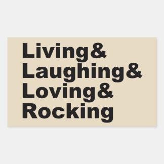 Adesivo Retangular Living&Laughing&Loving&ROCKING (preto)