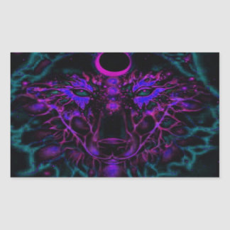Adesivo Retangular Lobo de néon Mythical da cerceta