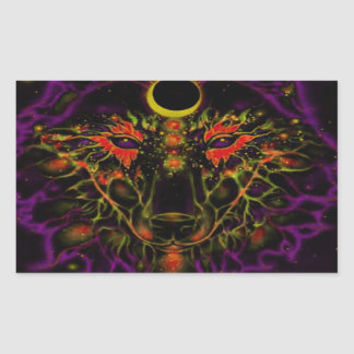 Adesivo Retangular Lobo roxo de néon Mythical