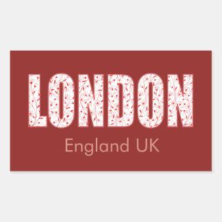 Adesivo Retangular Londres (teste padrão, tipografia de flor do