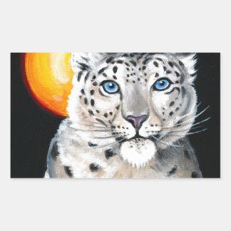 Adesivo Retangular Lua do leopardo de neve