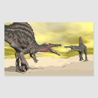 Adesivo Retangular Luta do dinossauro de Spinosaurus - 3D rendem