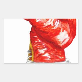 Adesivo Retangular Luva de encaixotamento vermelha