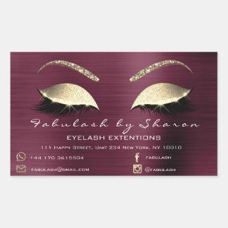 Adesivo Retangular Luxo do endereço de Borgonha do salão de beleza da